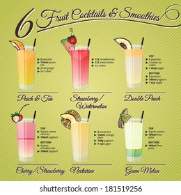 Healthy fresh cocktails and smoothies recipes and vector illustrations with fruit decorations.