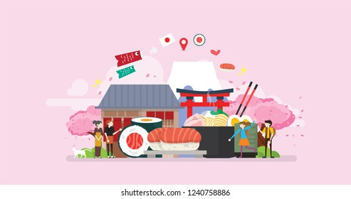 Healthy Fresh Japanese Food Tiny People Character Concept Vector Illustration, Suitable For Wallpaper, Banner, Background, Card, Book Illustration, And Web Landing Page
