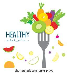 Healthy Fruit Vegetable Diet Useful Cartoon Vector