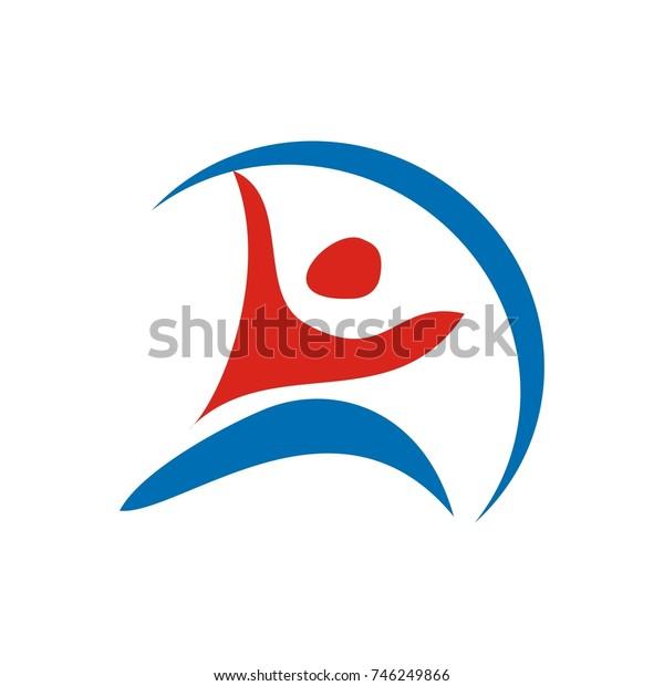 healthy fun energic abstract human figure logo design template vector