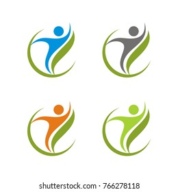 Healthy, fun, optimist , happy, abstract figure logo design template designed based in vector format, easy to change color and size, good for fitness, nature, medical, beauty etc company.