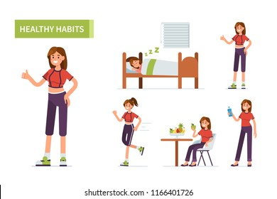 Healthy habits concept banner.  Flat cartoon vector illustration isolated on white background.