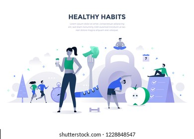 Healthy habits vector illustration. Exercising, running in the fresh air, healthy eating and drinking enough water, relaxation and effective daily routine