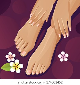 Healthy hands and feet with french manicure and pedicure