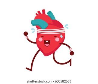 Healthy Happy And Cute Human Anatomy Illustration Cartoon - Healthy Exersice Heart