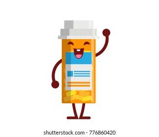 Healthy Happy And Cute Medicine Bottle Illustration Cartoon