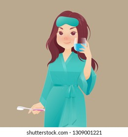 Healthy happy woman in green robe rinsing and gargling while using mouthwash from a glass, During daily oral hygiene routine, Dental Health Concept, Vector and illustration