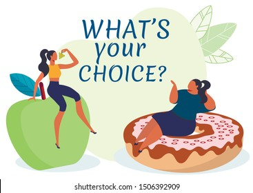 Healthy or Harmful Food Banner Vector Template. Women Sitting on Apple and Doughnut Cartoon Characters. Nutrition Choice Poster Concept. Fruits and Sweets Flat Illustration with Typography