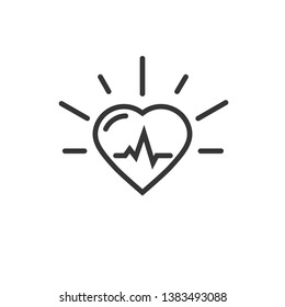 Healthy heart beating vector icon, line outline art heart with pulse cardiogram isolated on white background