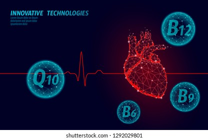 Healthy heart beats 3d medicine model low poly. Triangle connected dots glow point red background. Vitamin supplement Q10 B12 modern innovative technology render vector illustration