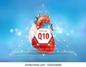 Healthy heart. Coenzyme Q 10. Chemical formula and description. Concept