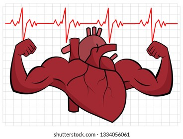 A healthy heart flexes muscle on square checkered background