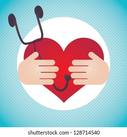 Healthy Heart, Hospital Icons (with stethoscope,), on blue with hands background