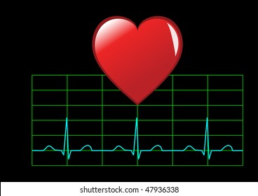 Healthy heart illustration showing a red heart over a healthy sinus rhythm cardiac trace isolated on black