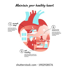 healthy heart. Infographic about Prevention of cardiovascular disease, desease. shows people running, eat fruit and vegetable, and sleep, in heart shape.