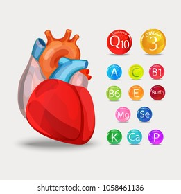 Healthy heart. Vitamins and minerals. Magnesium, potassium, omega-3, coenzyme Q10 and others.