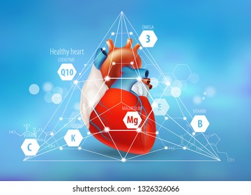 Healthy heart. Vitamins and trace elements necessary for the health of the cardiovascular system. Coenzyme Q10, omega 3, magnesium and others. Concept