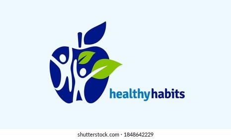 Gesundes Symbol mit Apfel- und abstrakter Figur, Logo-Vorlage für das Gesundheitswesen von Apple.