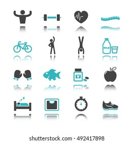healthy icons with reflection isolated on white background