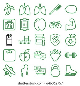 Healthy icons set. set of 25 healthy outline icons such as peach, baby food, floor scales, no fast food, lemon, toothbrush, burrito, raspberry, bee, apple, pool, bicycle