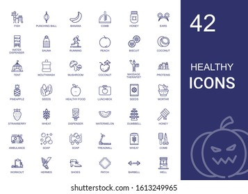 healthy icons set. Collection of healthy with fish, punching ball, banana, comb, honey, ears, water dispenser, sauna, running, peach, biscuit. Editable and scalable healthy icons.