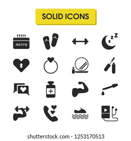 Healthy icons set with muscle, bodybuilder and heart chat elements. Set of healthy icons and call concept. Editable vector elements for logo app UI design.