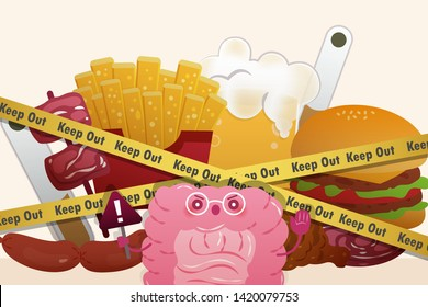 healthy intestine take a warning sign in front of  junk food with blockade line