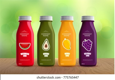 HEALTHY JUICES IN NATURAL BACKGROUND. VECTOR EPS