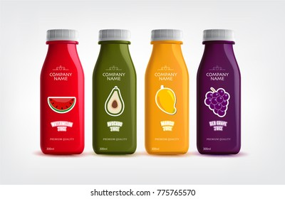 HEALTHY JUICES IN WHITE BACKGROUND. VECTOR EPS