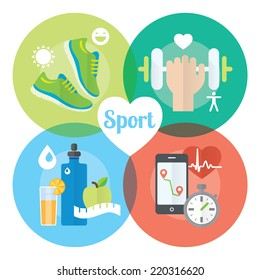 Healthy life concept flat icons of jogging, gym, healthy food, metrics. Isolated vector illustration and modern design element