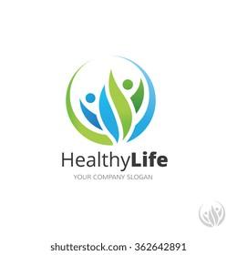 Healthy life family logo template