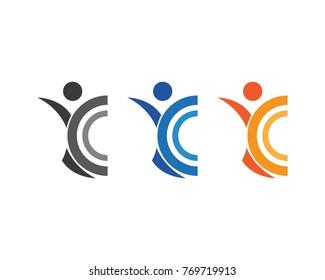healthy life logo icon vector. human caracter sign.
