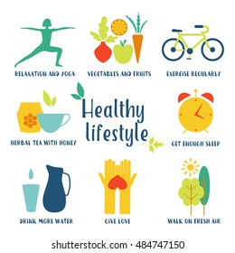 Healthy life style in flat design with food and sport icons.