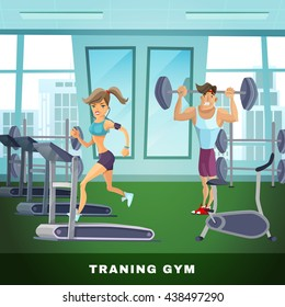 Healthy lifestyle background with fitness center and people cartoon vector illustration