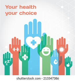 Healthy lifestyle background with icon set and hands. Modern vector flat illustration and design element