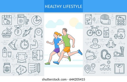 Healthy lifestyle banner. Design template with flat line icons on theme fitness, nutrition and dieting. running man and woman. Vector illustration