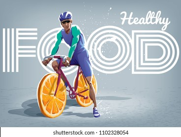 Healthy lifestyle. Biker on a bicycle with oranges slice instead of wheels