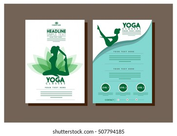 healthy lifestyle brochure female practicing yoga green silhouette