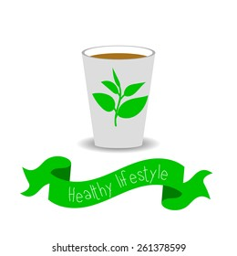 Healthy lifestyle card with green tea