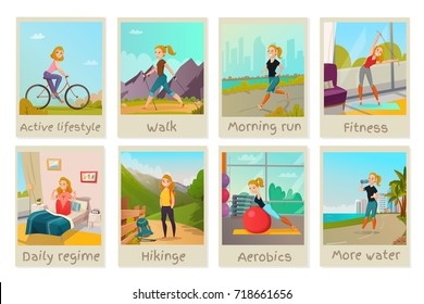 Healthy lifestyle cards set with young female doing presenting good habits isolated vector illustration