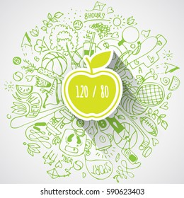 Healthy lifestyle concept with apple and doodles