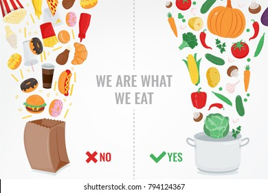 Healthy Lifestyle concept. Choose what you eat. Vector illustration