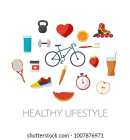 Healthy lifestyle concept in flat design. Sports and food design.