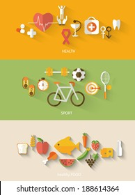 Healthy lifestyle concept in flat style.