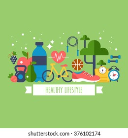 Healthy lifestyle concept with food and sport icons - Shutterstock ID 376102174
