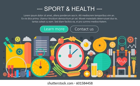 Healthy lifestyle concept with food and sport icons. Sport and fitness flat concept infographics header template design. Vector illustration