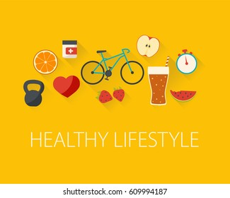 Healthy lifestyle concept. Food and sport. Flat design.