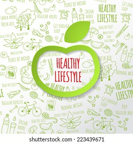 Healthy lifestyle concept with green paper apple form. Vector hand drawn doodle background