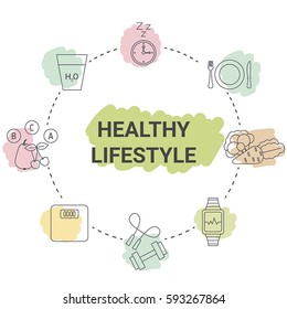 Healthy lifestyle concept. Infographic with healthy lifestyle symbol.