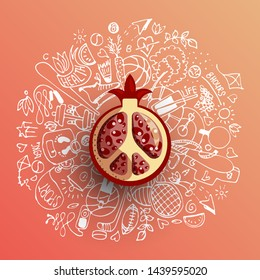 Healthy lifestyle concept with sport and healthy diet doodles and icons - sport, food, happy and normal sleep icons around fresh, juicy garnet, pomegranate on white background. Healty diet and sport